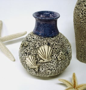 Image of Sea Inspired Textured Round Vase with Sculpted Shells