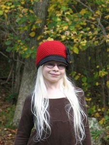 Image of On the Town Beanie Hat with Large Flower Crochet Pattern