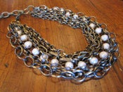 Image of Chunky Chain Necklace with Freshwater Pearls