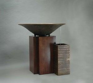 Image of Baptismal font with mahogany cabinet