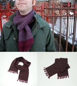Image of Alexander's wine & dark heather gray scarf