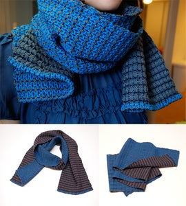 Image of Karenina's reversible cerulean and gray scarf