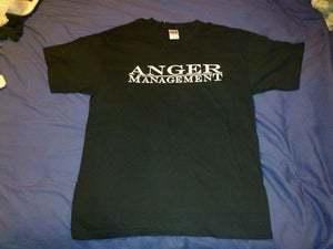 Image of Anger Management (white logo on black shirt)