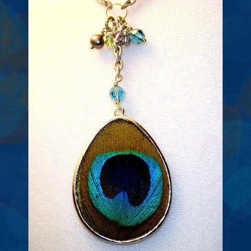 Image of Peacock Feather Necklace