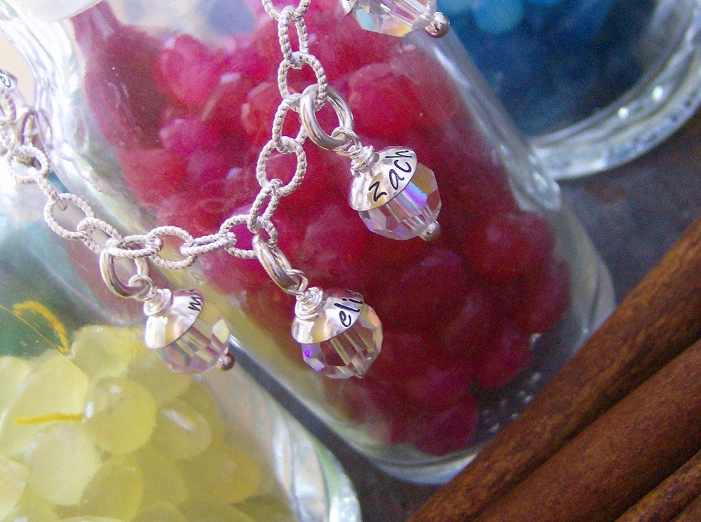 Image of Capped crystal family bracelet (8 charm)
