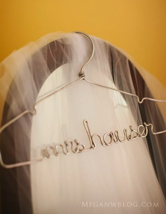 Home lilafrances for Personalized wire wedding dress hanger