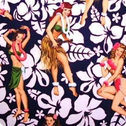 Image of FF Sexy Pin Up Hula Girls Tropical Cotton Fabric