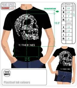 Image of TO THE BONES Black Skull Tshirt. - £10.00