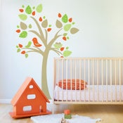 Image of Tree with Bird Nest Fabric Decal - Removable and Reusable