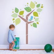 Image of Tree and Bird Fabric Wall Decal - Removable and Reusable
