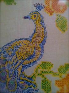 Image of Framed Peacock Folk Art
