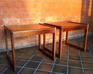 Image of Pair of Retro Teak Side Tables