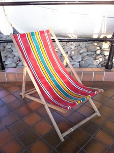 Image of Vintage retro deck chair - red stripe