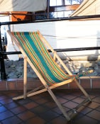 Image of Vintage retro deck chair - green stripe