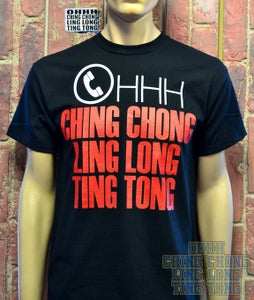Image of OHHH CHING CHONG LING LONG TING TONG Mens T-Shirt ( Black )
