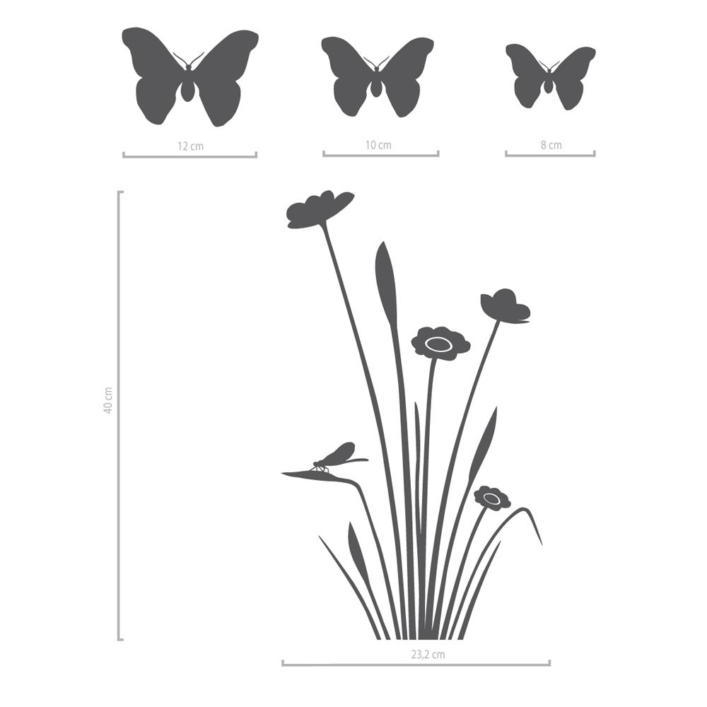 Image of Fensteraufkleber Blume Larissa und 3 Schmetterlinge