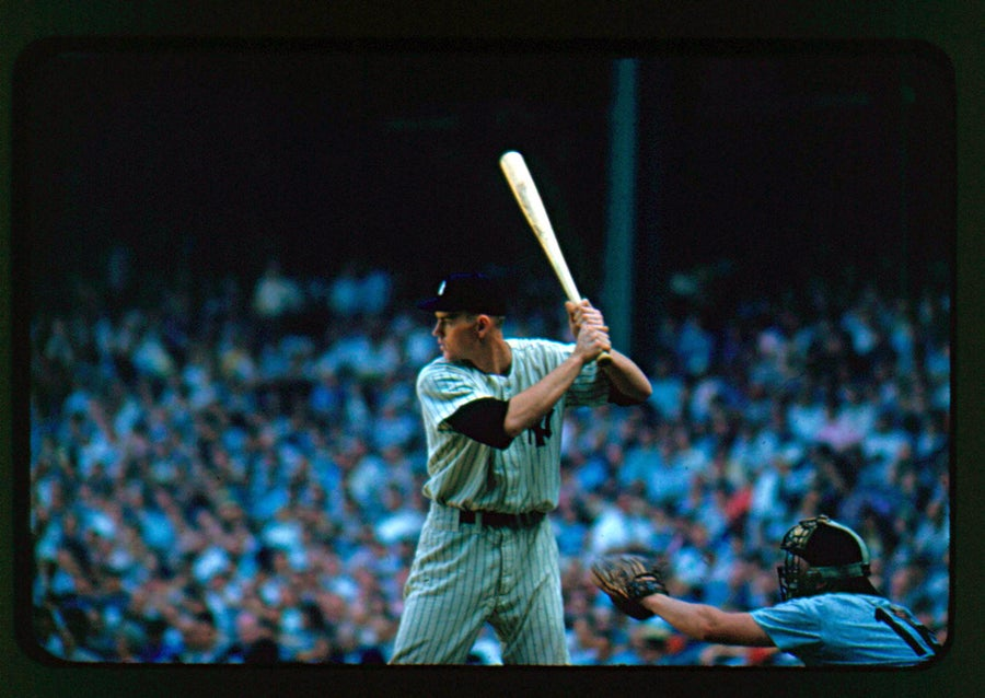 Image of Mickey Mantle Era Yankee At the Bat