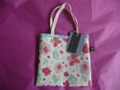 Image of Pretty pink floral oilcloth mini tote SALE