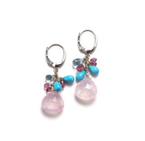 Image of Pink Quartz and Turquoise Drop Earrings, 18kwg