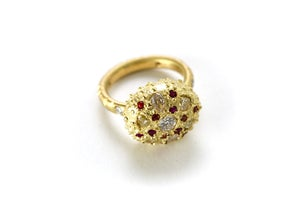 Image of Champagne Diamond and Ruby Sea Urchin Ring