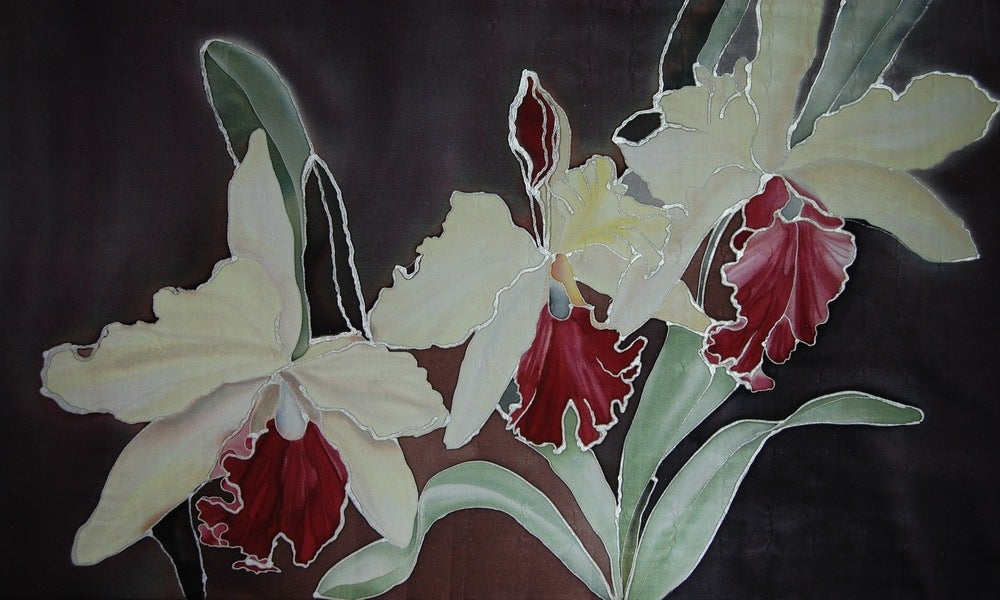 Image of Glory Orchids Silk Portrait - Handpainted Silk