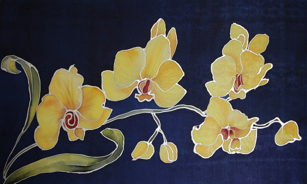 Image of Yellow Orchids Silk Portrait - Handpainted Silk