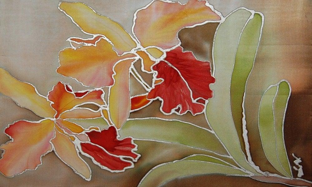 Image of Sunshine Orchids Portrait - Handpainted Silk