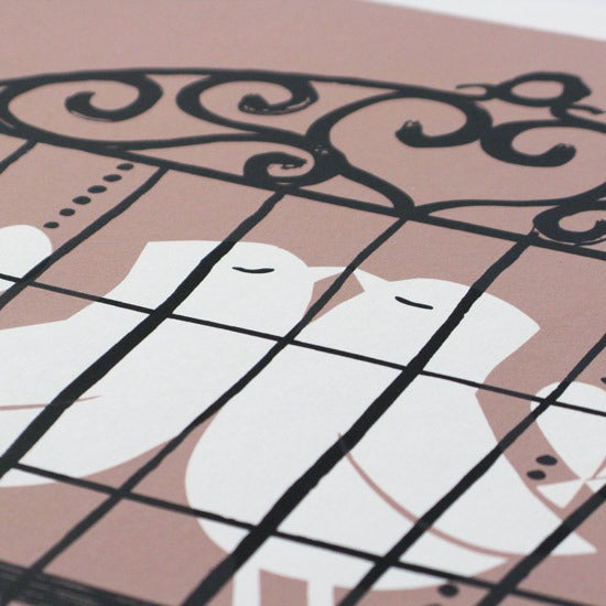Image of Silkscreen print   Lovebirds, rose