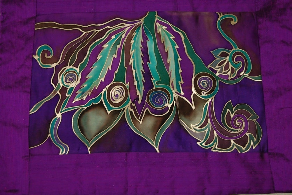 Image of Beauty Meditation Cushion - Handpainted Silk