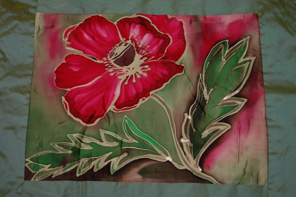 Image of Garden Meditation Cushion - Handpainted Silk
