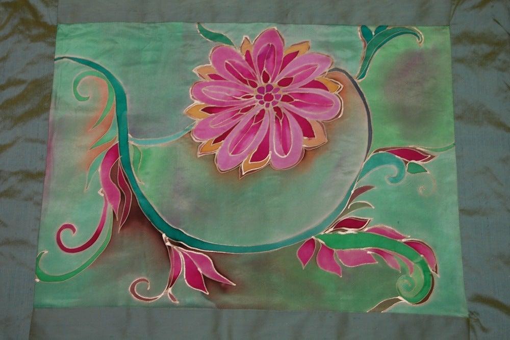 Image of Heart Meditation Cushion - Handpainted Silk