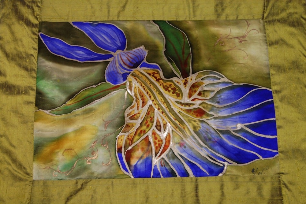 Image of Iris Meditation Cushion - Handpainted Silk