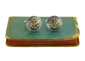 Image of Vintage Liberty Dimes Anchor Cufflinks