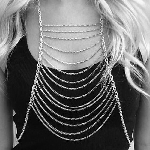 Image of Silver Wide-Body Ladder Chain Harness