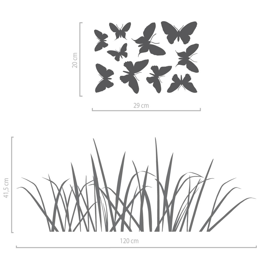 Image of Wandaufkleber Wiese mit Schmetterlingen