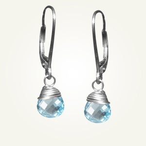 Image of Candy Drop Earrings with Sky Blue Topaz, Sterling Silver