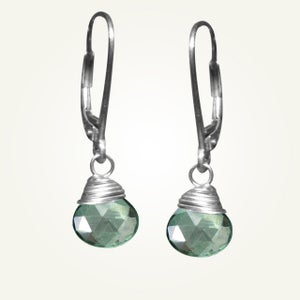 Image of Candy Drop Earrings with Mystic Green Quartz, Sterling Silver