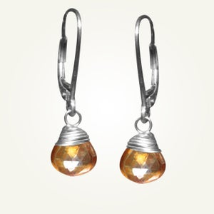 Image of Candy Drop Earrings with Orange Topaz, Sterling Silver