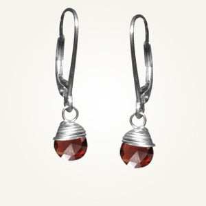 Image of Candy Drop Earrings with Garnet, Sterling Silver