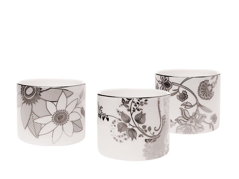 Image of Tea Light Vessels - Set of 3 (Lucent Blooms Collection)