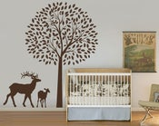 Image of Mum Mom and Baby Deer with Beautiful Tree wall decal and sticker