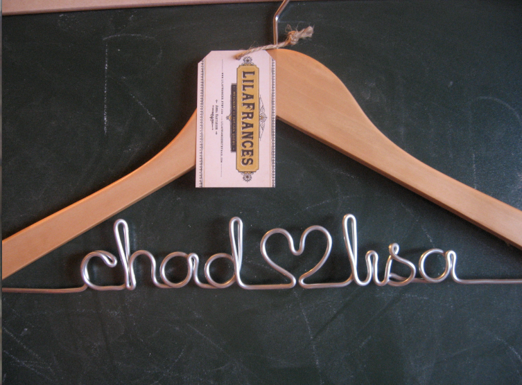 Image of Blonde Wood and Wire Personalized Wedding Dress Hanger