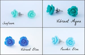 Image of Modern Vintage Petite Rose Earrings - Click to see all available colors