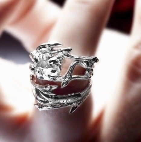Image of Light Elvish Ring<br>Herkimer Diamond