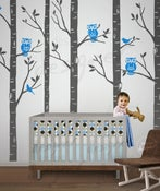 Image of Wild Birch Woods Forest with Owls - 101in tall 5 trees - dd1045 LARGE Vinyl Wall Decal Sti
