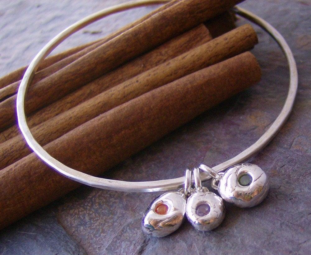 Image of Gem stone pebble bangle