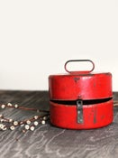 Image of Red Round Metal Tin Container