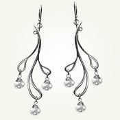 Image of Hama Rikyu Earrings with White Topaz, Sterling Silver