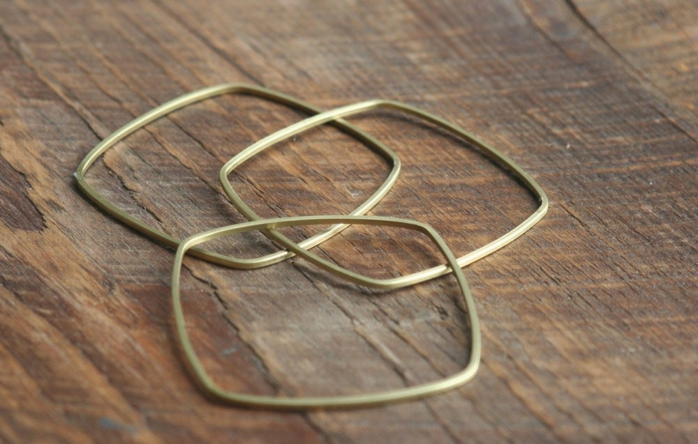 Image of 3 Skinny square brass bracelets