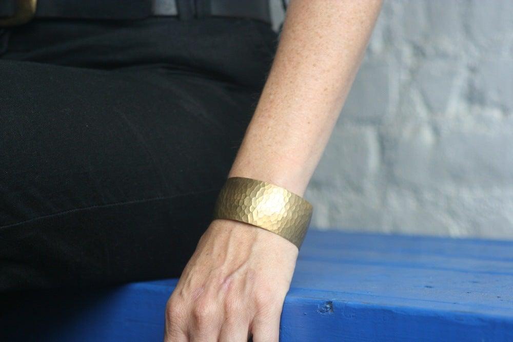 Image of Medium hammered brass cuff